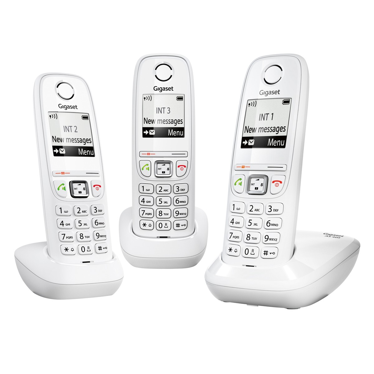 as405 trio white gigaset t l phonie dect. Black Bedroom Furniture Sets. Home Design Ideas